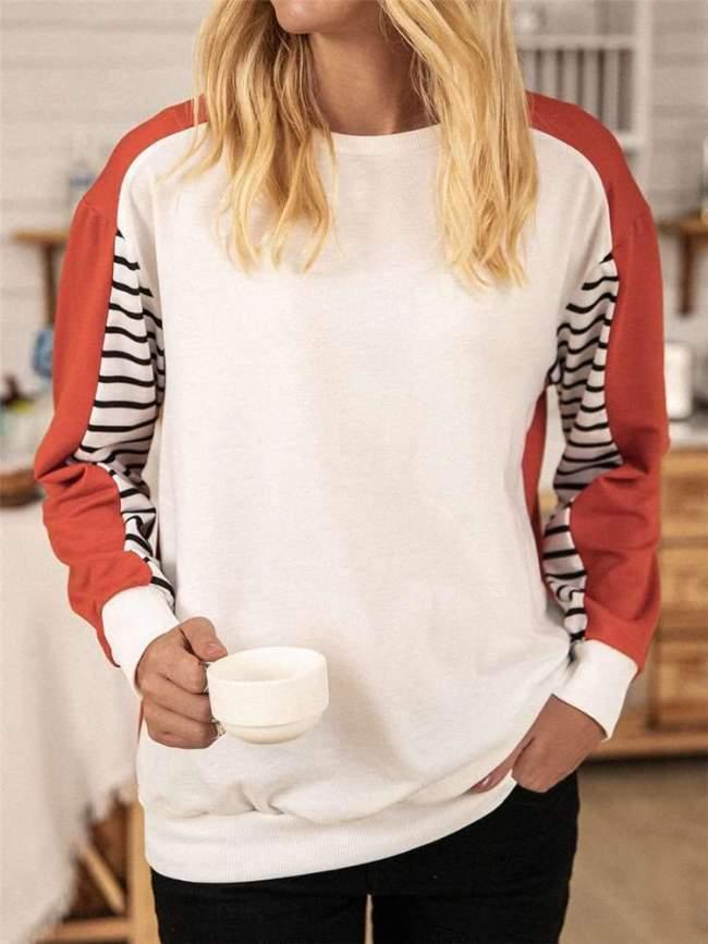 Casual Stripe Round neck Long sleeve Sweatshirts