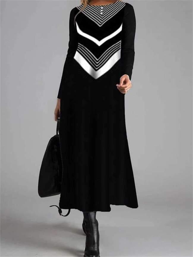 Fashion Stripe print Round neck Long sleeve Maxi Dresses