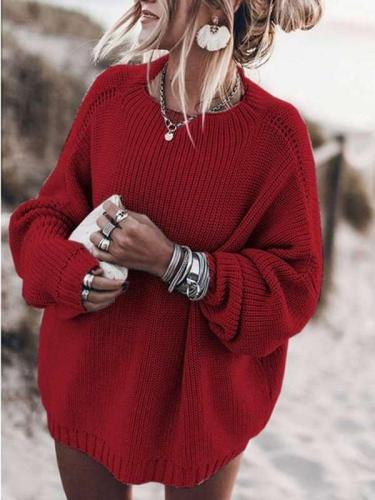 Casual Loose Pure Knit Round neck Long sleeve Sweaters