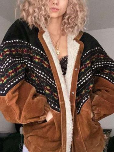 Fashion Casual Print Long sleeve Plushed Coats