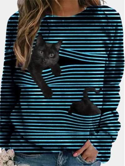 Fashion Stripe Print Round neck Long sleeve T-Shirts