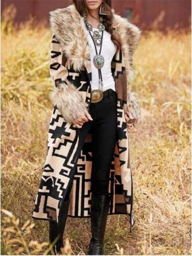 Fashion Geometric patterns Fur collar Long sleeve Trench Coats