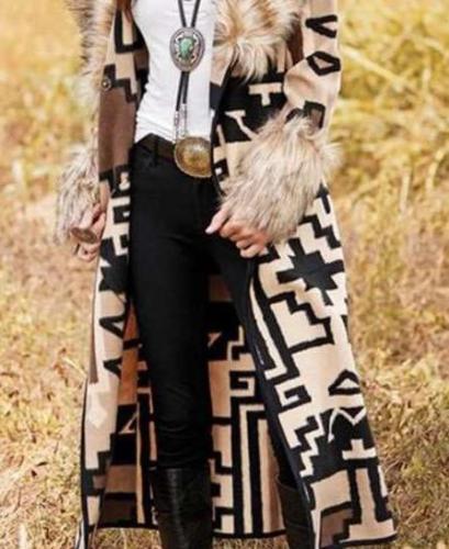 Fashion Geometric patterns Fur collar Long sleeve Trench Coats