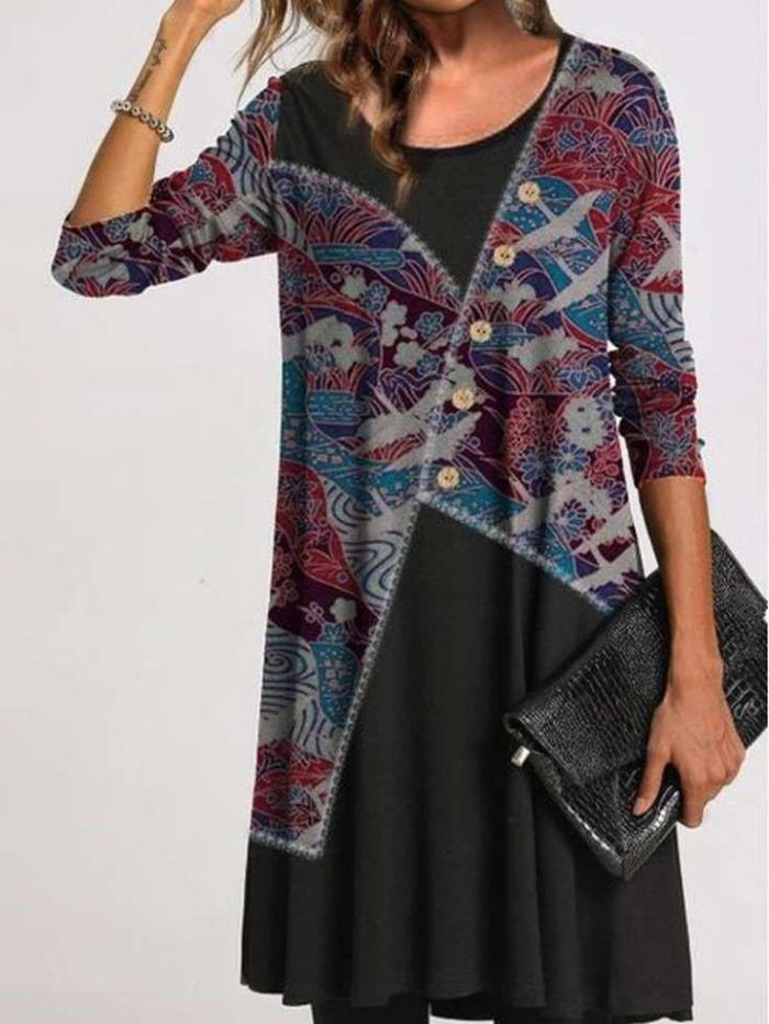 Fashion Retro print Round neck Long sleeve Gored Shift Dresses