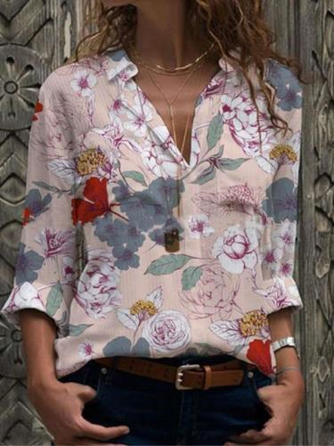 Fashion Floral Lapel Long sleeve Blouses
