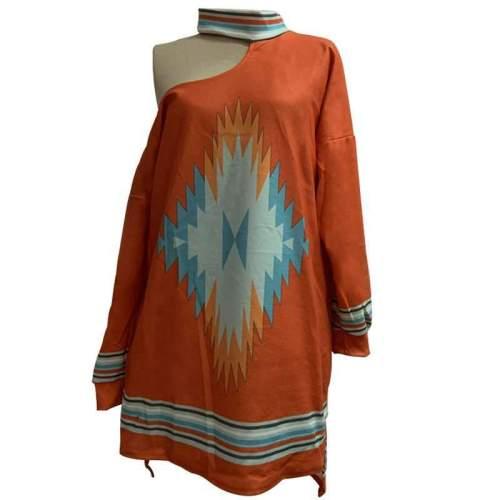 Fashion Casual Print Halter Long sleeve T-Shirts