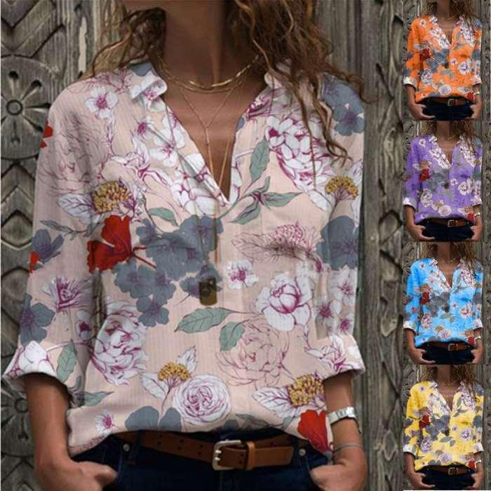 Fashion Floral Lapel Long sleeve Blouses
