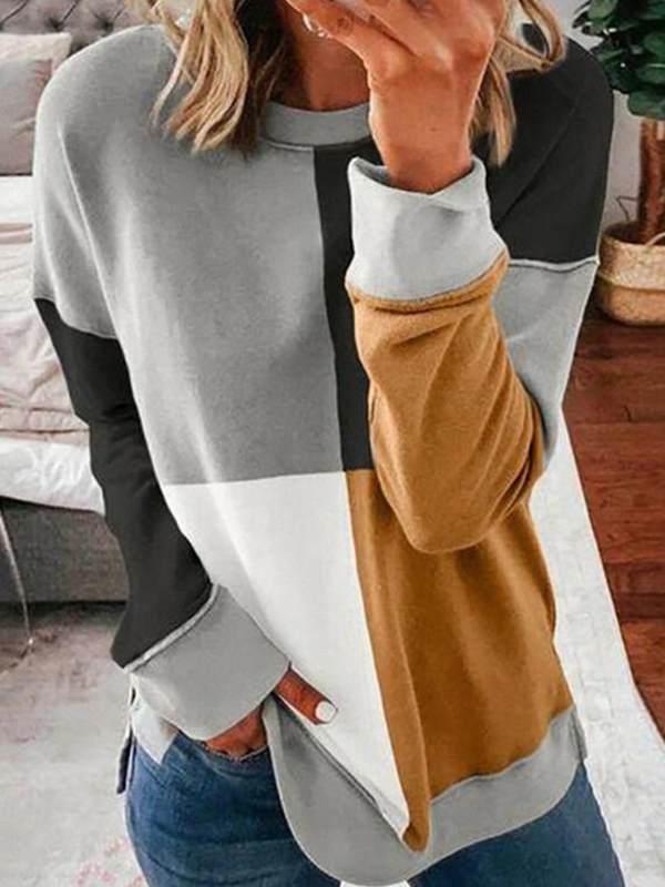 Fashion splicing hit color round neck long sleeve sweatshirts