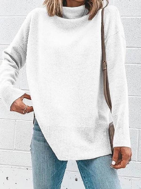 Plain high neck women long sleeve elegant sweaters