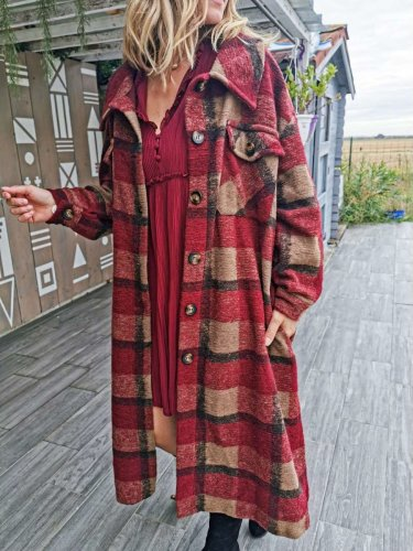 Fashion Plaid Lapel Long sleeve Woolen Trench Coats
