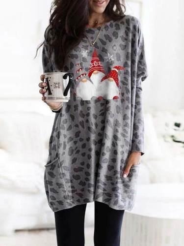Women chic fashionable christmas printed with pockets sweatshirts