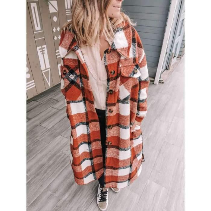 Fashion Plaid Lapel Long sleeve Woolen Trench Coats