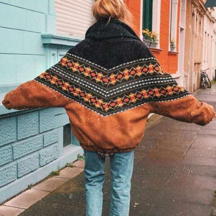 Fashion Casual Gored Print Long sleeve Lapel Plushed Coats