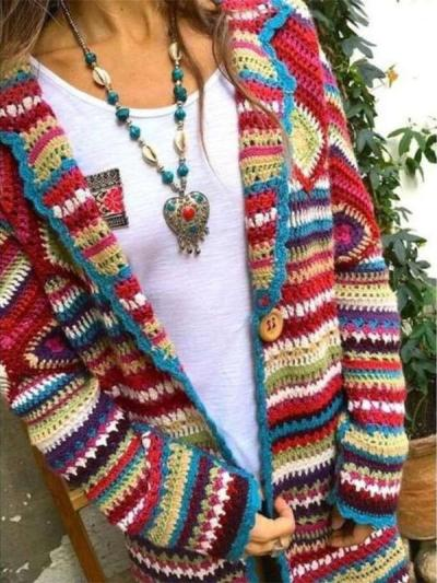 Fashion Casual Stripe print Lapel Long sleeve Knit Cardigan
