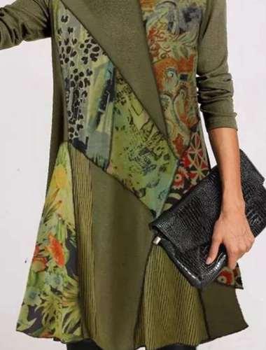 Fashion Retro print Heaps collar Long sleeve Gored Shift Dresses