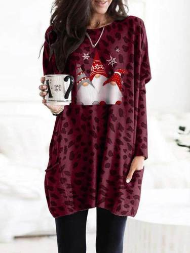 Women chic fashionable christmas printed with pockets sweatshirts