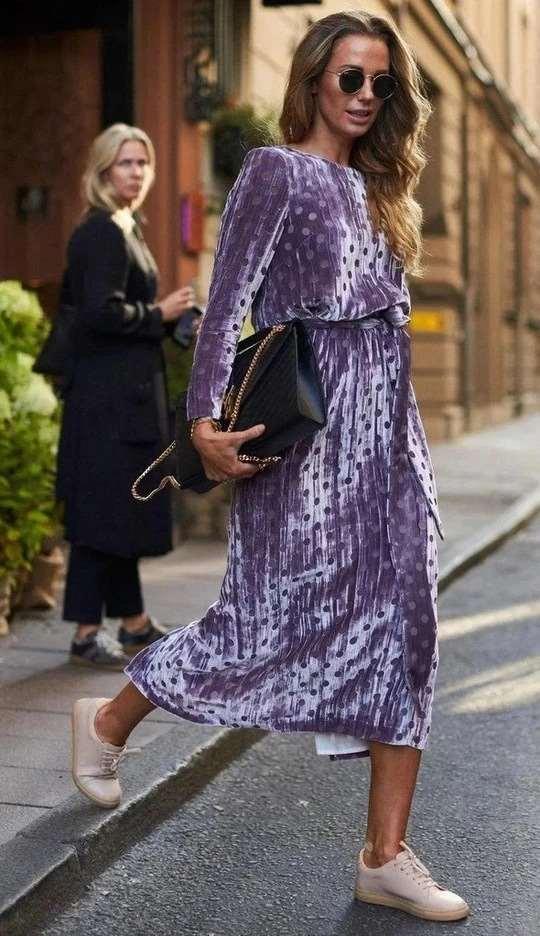 Fashion Poi,t print Round neck Long sleeve Lacing Skater Maxi Dresses