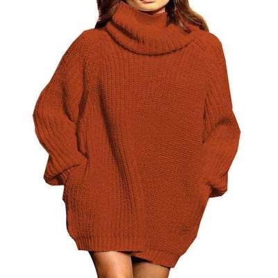 Casual Loose Pure High collar Long sleeve Knit Sweaters