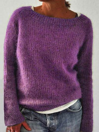 Vintage Plain basic knit women long sleeves sweaters