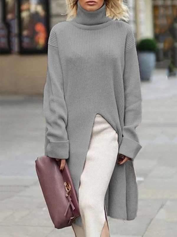 Loose Women high neck warm plain long sleeve sweater dress sweaters