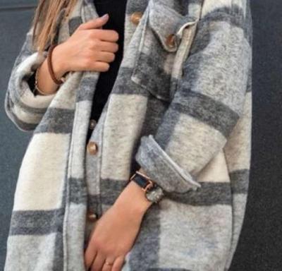 Fashion Plaid Plush Lapel Long sleeve Coats