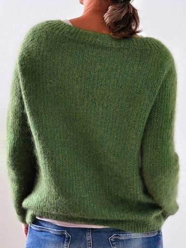 Vintage Plain basic knit women long sleeves sweaters