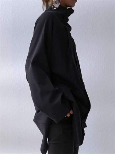 Fashion Casual Pure Gored High collar Long sleeve Irregular T-Shirts