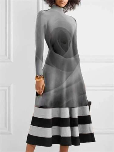Fashion Rose print High collar Long sleeve Skater Maxi Dresses