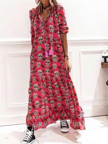 Fashion Casual Skeleton print Lapel Long sleeve Maxi Dresses