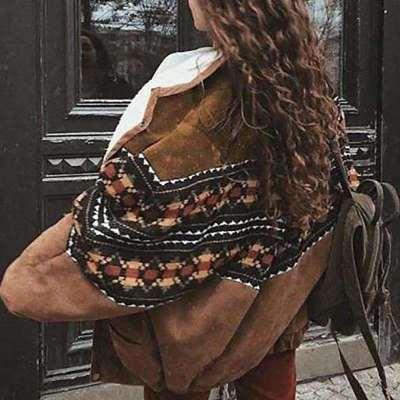 Fashion Casual Lapel Long sleeve Gored print Plush Coats
