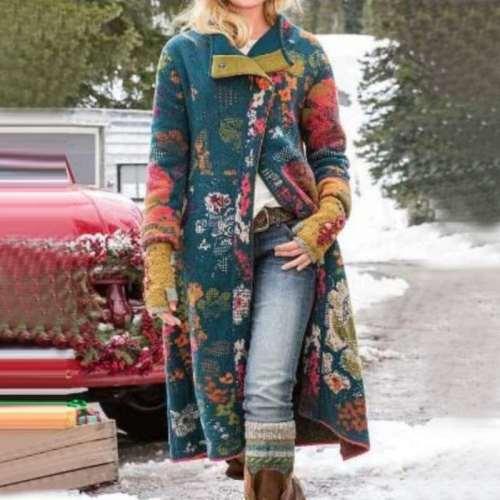 Fashion Floral print Lapel Lomg sleeve Coats