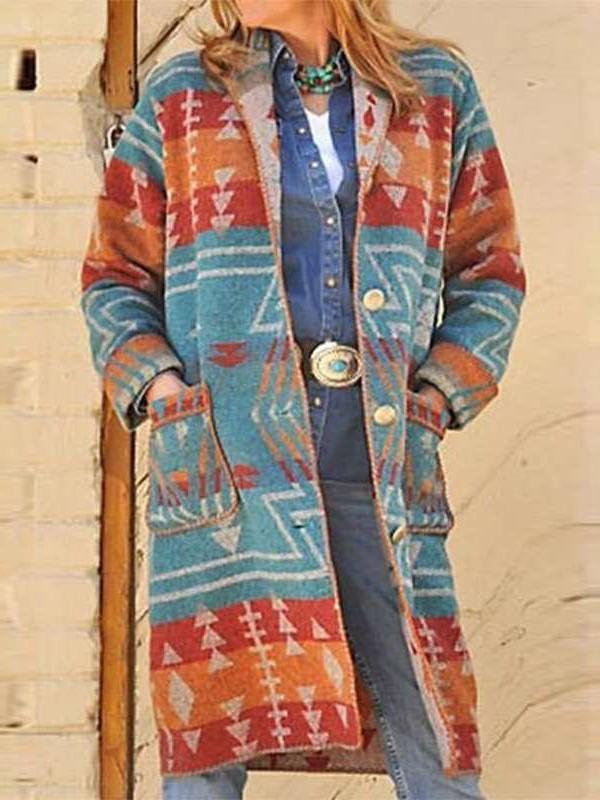 Fashion Casual Geometry print Lapel Long sleeve Cardigan