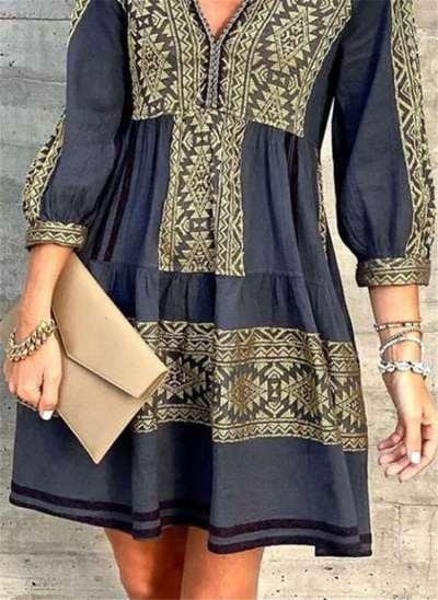 Fashion Gored Print  V neck Long sleeve Shift Dresses