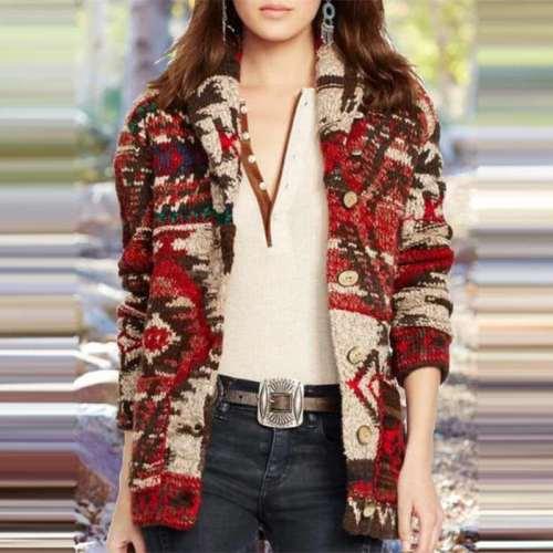Fashion Print Lapel Long sleeve Fastener Cardigan Coats
