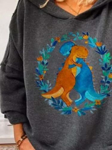 Casual  Cartoon dinosaur print Hoodies Sweatshirts