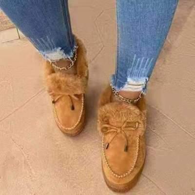 Women warm bowknot cotton shoes boots