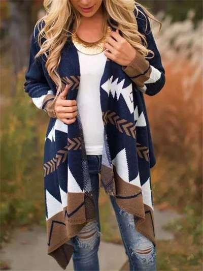 Fashion Gored print Long sleeve Knit Tippet Cardigan