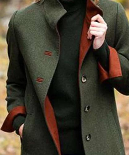 Fashion Pure Stand collar Long sleeve Fastener Coats