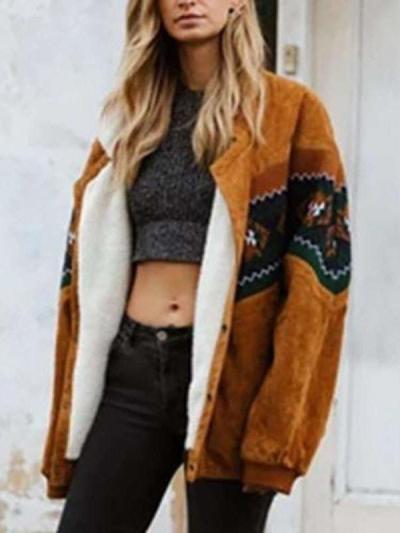 Fashion Casual Gored Print Lapel Long sleeve Plushed Coats