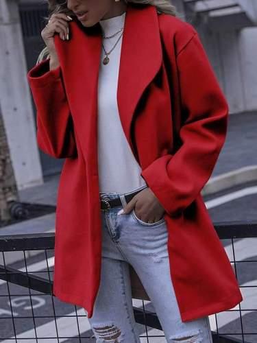 Fashionable elegant women plain turn down neck long coats