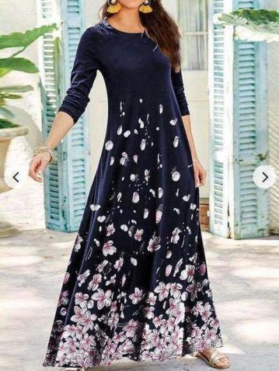 Fashion Retro Floral print Round neck Long sleeve Maxi Dresses