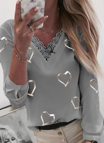 Fashion Lace Gored Love ptint V neck Long sleeve T-Shirts