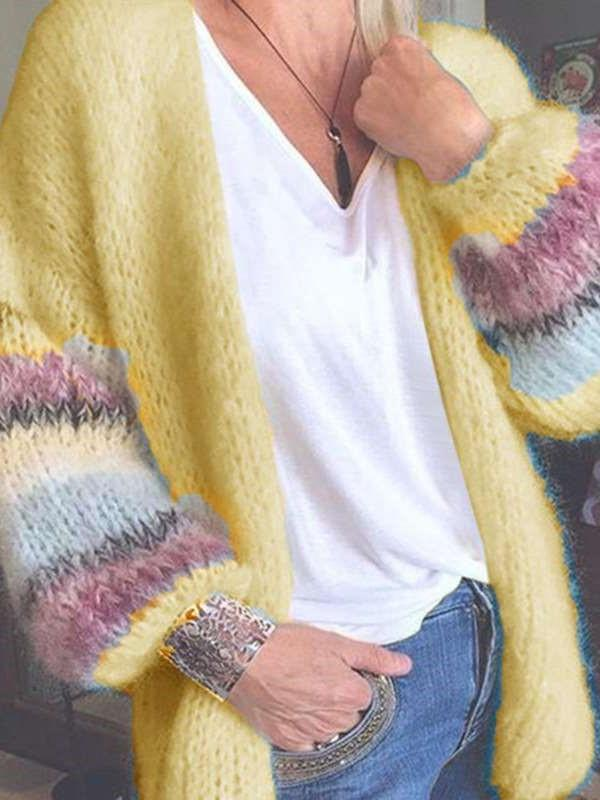 Casual Stripe Knit Long sleeve Cardigan