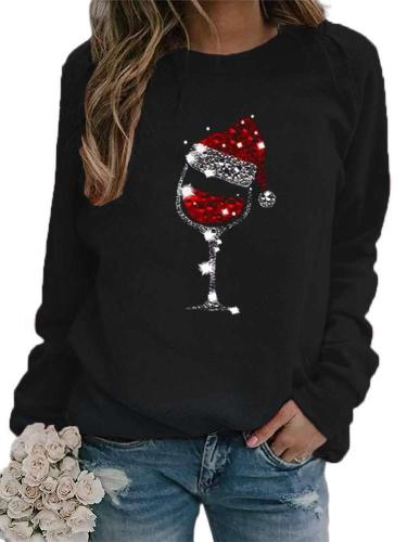 Fashion Casual Christmas Cup print Round neck Long sleeve Sweatshirts
