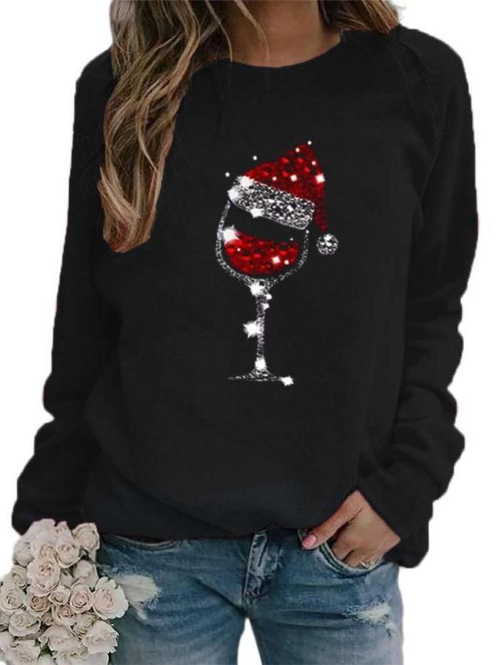 Fashion Casual Christmas Cup print Round neck Long sleeve Sweatshirts