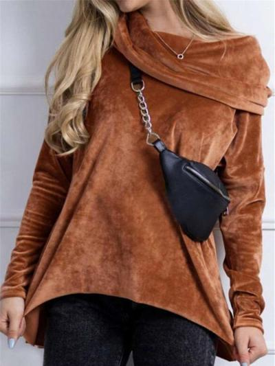 Fashion Casual Pure Pleuche Cape collar Long sleeve T-Shirts