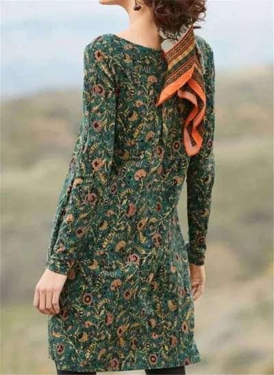 Fashion Casual Retro print Round neck Long sleeve Shift Dresses