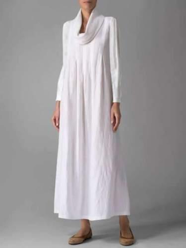 Fashion Pure Shawl collar Long sleeve Maxi Dresses