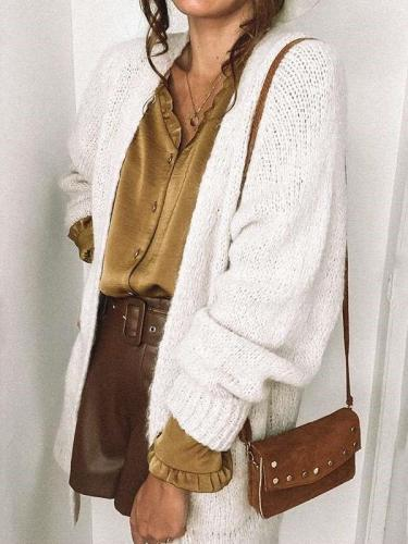 Casual Pure Long sleeve Knit Cardigan