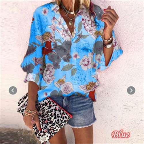 Fashion Casual Floral Lapel Long sleeve Blouses